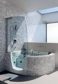 black and white small bathrooms corner whirlpool shower combo bathroom