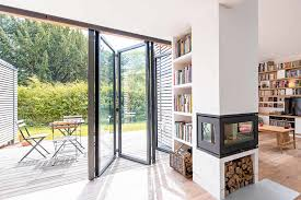 aluminium bi folding doors sunflex sf55 inside looking out