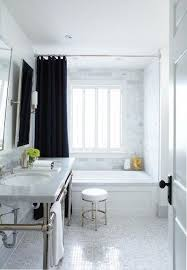 white black gray bathroom design with white carrara marble hexagoon hex tiles floor white