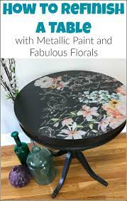 to refinish a table with metallic paint
