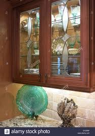 Luxury Etched Glass Front Kitchen Cabinet Usa Stock Photo 68273787