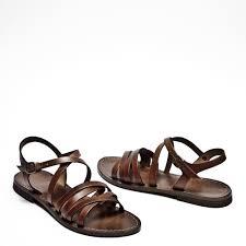 italian leather strappy sandals dark tan