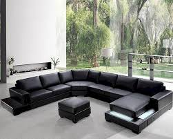 leather sectional couches. Modern Leather Sectional Adorable Soft Black Sofa Set Beautiful In The Room With Green Outdoor View Couches