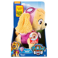 Paw Patrol Deluxe Lights And Sounds Plush Real Talking Rubble Paw Patrol Deluxe Phrases And Sounds 30cm Plush Real Talking Skye