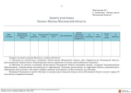 Инфраструктура поддержки малого предпринимательства ru Бланк анкеты заявления на обучение в Бизнес школе Московской области можно скачать по этой ссылке