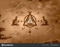 мистические рисунок третий глаз всевидящее око круг фазы луны