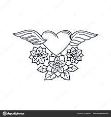 Srdce A Růže Elementem Line Tattoo Stock Vektor Ssstocker 211666018