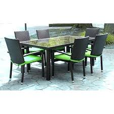 lime green patio furniture 7 piece black resin wicker outdoor dining set cushions and blue