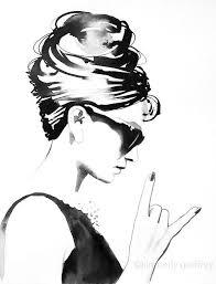 Bw Audrey Rocks Fine Art Print Fashion Illustration Vintage Black