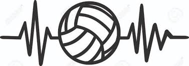 Volleyball Word Heartbeat Pulse Line With Volleyball And Word