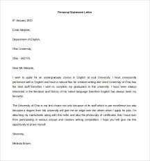personal letter sample example format   personal statement letter example