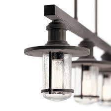 kichler riverwood 3 light outdoor linear chandelier weathered zinc