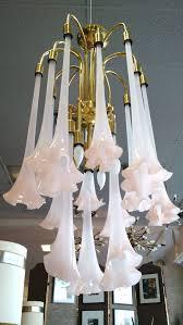 15 handblown soft pink art glass angel s trumpet flowers hanging from gleaming brass