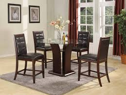 bar height brown leather wood dining room set four chairs