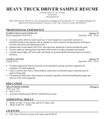 Truck Driver Resume Templates Free Resume Templates 2018