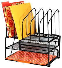 desk office file document paper. Amazon.com : DecoBros Mesh Desk Organizer With Double Tray And 5 Upright Sections Office Products File Document Paper