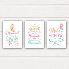 Quote Prints Fascinating Set Of 48 Mermaid Quote Prints Personalised Prints And Art
