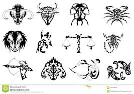 Tribal Star Signs Tattoos Designs Set Of Zodiac Signs Tattoos In Black Stock Vector