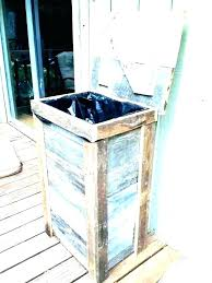 outside garbage cans outdoor can holder exterior trash petite enclosure storage bins wooden fo