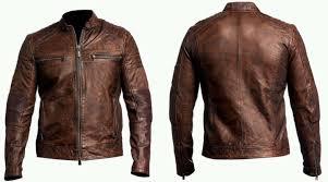 com mens biker vintage motorcycle cafe racer brown distressed leather jacket