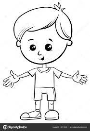 かわいい小さな男の子キャラクター塗り絵の黒と白の漫画イラスト