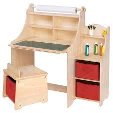 unpolished birch wood kid desk with open shelf and red vinyl drawers the most valuable