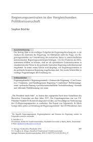 Regierungszentralen In Der Vergleichenden Politikwissenschaft