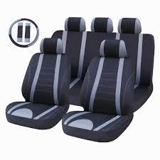 auto fx mako black grey polyester seat cover set lb