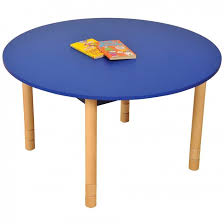 height adjule round table blue