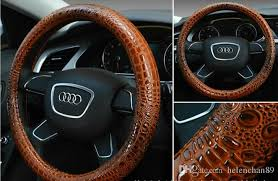 38cm luxury crocodile grain leather car steering wheel cover universal fashion sport steering wheel covers for auto accessories awesome steering wheel