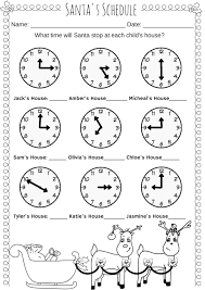 Santa's Schedule Time Worksheet – Miniature Masterminds