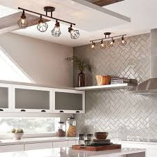 industrial track lighting. Industrial Track Lights Over The Kitchen Island And A Shelf Lighting N