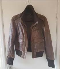 las oasis brown leather jacket 14
