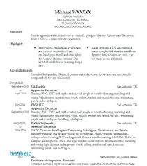 Apprentice Electrician Resume