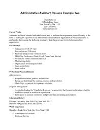 Administrative Assistant Resume Example For Career Profile With Key