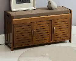 Natural Bamboo Shoe Cabinet Entryway Shoe Storage Household Shelf Shoe  Bench with Cushion Bamboo Furniture Hallway