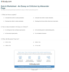 essay on criticism analysis quiz amp worksheet an essay on quiz amp worksheet an essay on criticism by alexander pope study comprint alexander pope s an