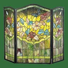 garden flowers stained glass fireplace screen screens fire pattern