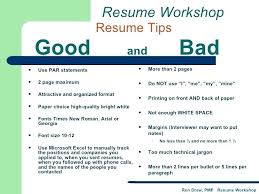 Bad Examples Of Resumes Example A Resume Workshop Good And Funny Pdf