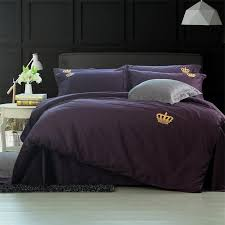 60s cotton solid purple silver color bedding sets crown embroidered bed set king queen size bedsheet set duvet cover king queen size bed set bedding set