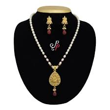 Laxmi Pearls Designs Simple Pearl Necklace Set In Lakshmi Pendant