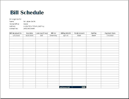 Excel Bill Tracker Template Monthly Bill Planner Template Gallery Of Monthly Bill