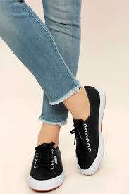 fascinating superga 2750 fglu leather sneakers womens black flats size us 5 5 98vc795