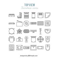 creative furniture icons set flat design. furniture icons in top view creative set flat design l