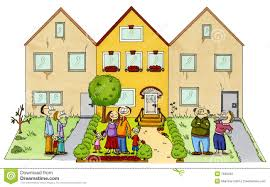 New Home Cartoon Images A Happy Family In Front Of Their New Home Stock Illustration