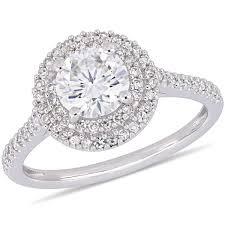 Bridal Collection - <b>1 CT Moissanite</b> White and 1/3 <b>CT</b> TW Diamond ...