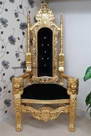 lion throne chair in gold leaf black velvet crystal ons