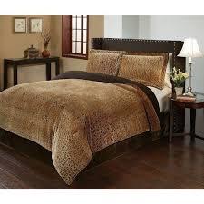 queen king cheetah animal print plush velvet safari 3 pc comforter set bedding