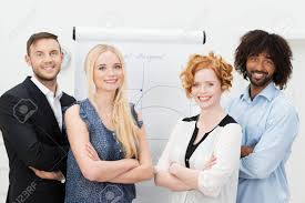 Dedicated Confident Young Multiracial Business Team Posing With
