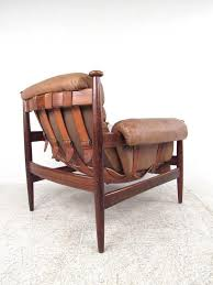 Scandinavian Leather Sling Lounge Chair and Ottoman 2